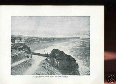 1905 Photo Print SAN FRANCISCO,CLIFF,BEACH,ocean view + Free Shipping