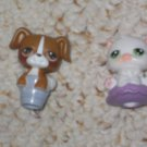 Littlest Pet Shop white cat 15 green eyes cat dog pencil toppers
