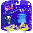 New Littlest Pet Shop Skunk fuzzy tail garbage can 641