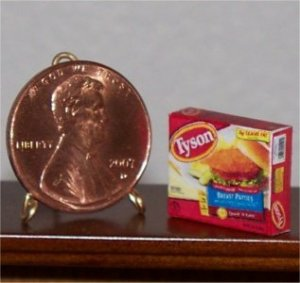 Dollhouse Miniature Food Tyson Chicken Patties Grocery