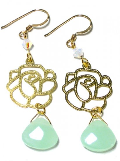Light green faceted chalcedony swarovski rose finding gold dangle earrings