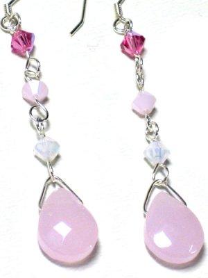 Light Pink Faceted Chalcedony Swarovski Silver Dangle Earrings