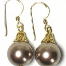 Bronze Swarovski Pearl Gold Dangle Earrings