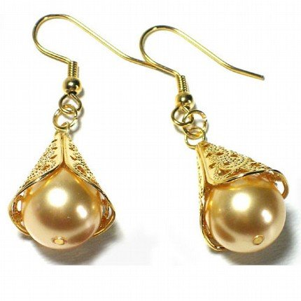 Gold Swarovski Pearl Fancy Cone Gold Dangle Earrings