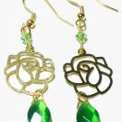 Green Swarovski Cats Eye Rose Gold Dangle Earrings