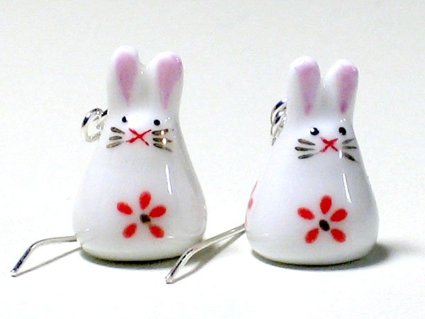 Cute Pink Porcelain Rabbit Dangle Silver Earrings