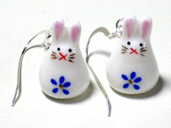 Cute Blue Porcelain Rabbit Dangle Silver Earrings
