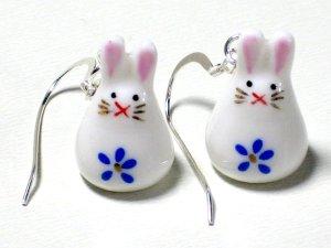 Cute Blue Porcelain Rabbit Dangle Silver Earrings