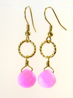 Pink Jade Twisted Ring Gold Earrings