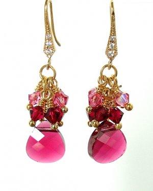 Fuchsia Swarovski Cluster Gold Earrings