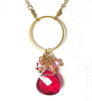 Fuchsia Swarovski Cluster Gold Hoop Necklace