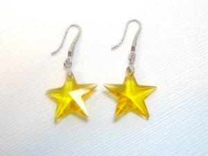 Yellow Swarovski Crystals Star Earrings