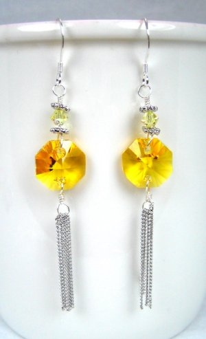Yellow octagon Swarovski tassel silver earrings