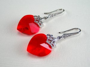 Red Swarovski Crystal Heart Silver Earrings