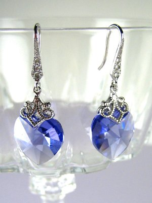 Purple Zircon Swarovski Crystal Heart Silver Earrings