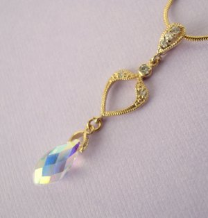 AB clear Swarovski Faceted Briolette with Gold Spade Connector Necklace