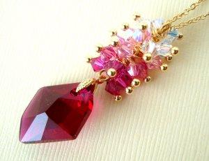 Ruby Fuchsia Swarovski Cosmic Cascade Long Gold Necklace