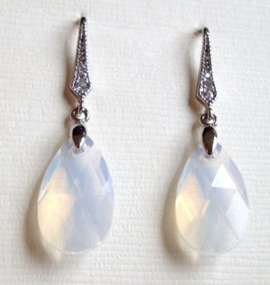 White Opal Swarovski Dangle Silver Earrings