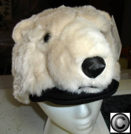 POLAR BEAR HAT Fur PLUSH ski Cap Black tie HALLOWEEN costume bears NEW