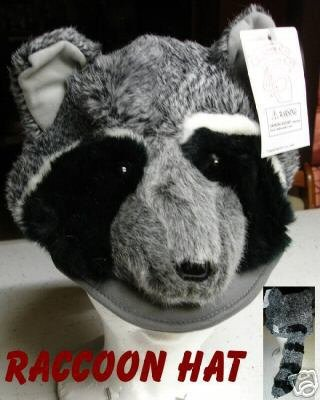RACCOON HAT plush Cap HALLOWEEN COSTUME  racoon head mask tail
