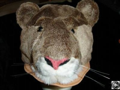 COUGAR HAT ski cap plush Halloween costume WILDCAT mountain lion ADULT puma mascot