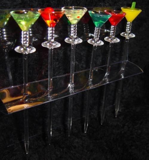 Set of 6 - COCKTAIL PICKS martini daquiri margarita ACRYLIC