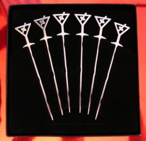 "Extra Long! 6 x TALL 5"" Cocktail Picks MARTINI GLASS Stainless Steel"