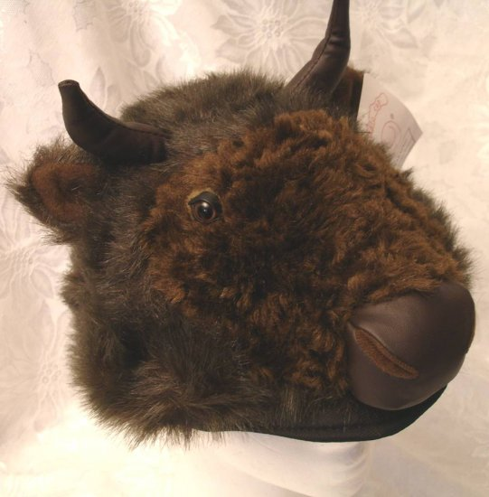 BUFFALO HAT furry COSTUME Mask on Head DOES NOT COVER FACE buffallo bull bulls bills PLUSH Halloween