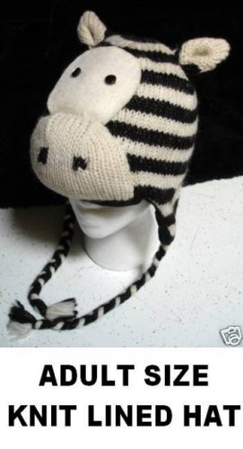 Adult Size KNIT ZEBRA HAT - ski cap animal Costume Fully Lined Warm toque beanie STRIPED HORSE