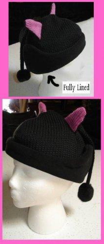 Black Cat Woman KNIT ski cap Halloween COSTUME  Kitty Wool LINED Soft kitten warm winter beanie