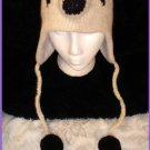 PANDA HAT bear Adult Hand Knit Ski Cap Halloween Costume Black & White Fleece Lined QUALITY