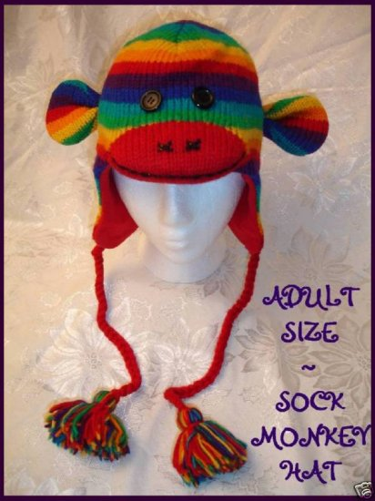RAINBOW SOCK MONKEY Hat KNIT ski cap STRIPED  Lined ADULT Halloween Costume delux