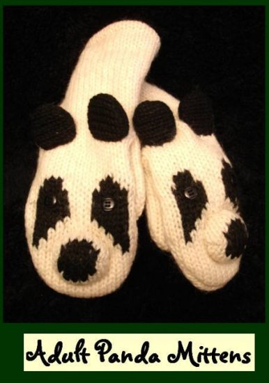 PANDA BEAR MITTENS black and white ADULT delux HALLOWEEN COSTUME knitwear hats and mittens