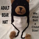 BLACK BEAR HAT Grizzlies KNIT GRIZZLY Adult Halloween Costume delux knitwear hats and mittens
