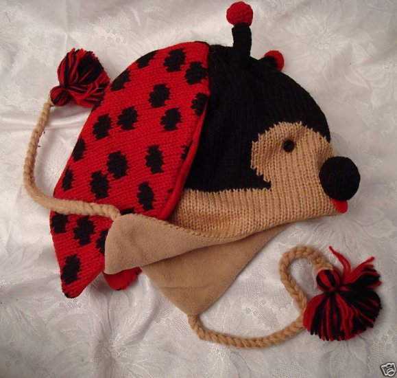 ADULT LADYBUG HAT cable knit BEANIE pilot flap Halloween Costume RED INSECT head mask