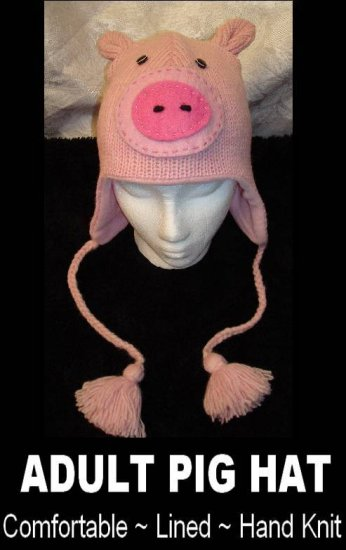 PIG HAT Pink  KNIT ski cap PIGGY Piglet FLEECE Lined HALLOWEEN COSTUME one size fits ADULT delux