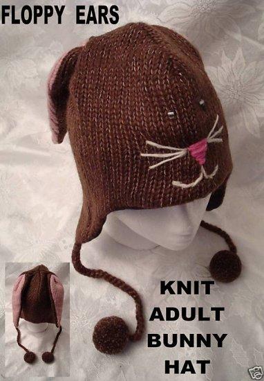 deLux BUNNY RABBIT HAT Long Eared ADULT  Floppy Ears Ski Cap Halloween Costume STITCH FACE