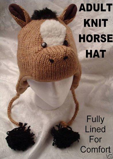 deLux Knit HORSE HAT Adult COSTUME Beanie Cap animal cap Colts Stallions PonyTail