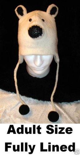 KNIT POLAR BEAR HAT Adult Ski Cap BEANIE Halloween Costume Black & White Wear delux