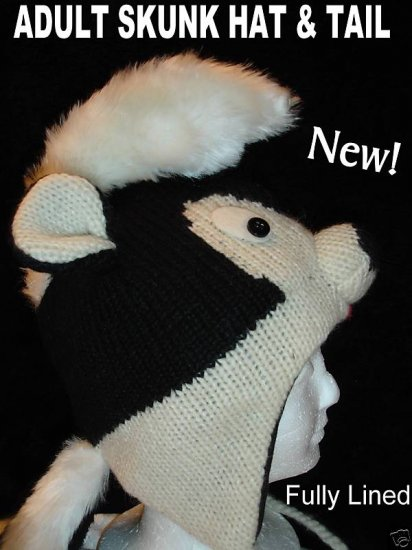 SKUNK HAT ADULT Mohawk  KNIT Ski cap BEANIE Halloween Costume Helmet Head mask handmade BLACK BADGER