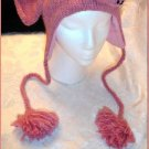 ADULT PINK ELEPHANT Hat KNIT SKI CAP animal Halloween costume Braided Tail Pink Tassels