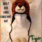 TIGER HAT knit ski cap COSTUME Bengal NEW stripe LINED wildcat Halloween Costume