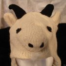 GOAT HAT hand knit ski cap ADULT animal WARM Lined animal Costume calf pan sheep lamb