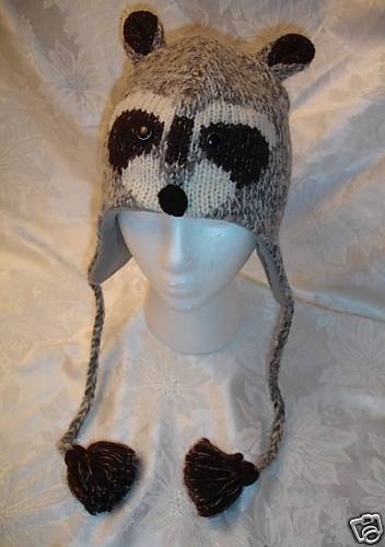 Delux Raccoon Hat Face Adult Size Wool Knit Ski Cap Racoon