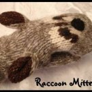 RACCOON MITTENS hand knit ADULT Lined NEW puppet Halloween Customer racoon