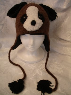 deLux Dog Face brown Knit Wool Pilot Animal Cap Hat  Ear Flaps animal Costume toque