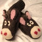DONKEY Mule Mittens FLEECE LINED warm Hand PUPPET Halloween Costume Therapy Adult eeyore burro