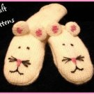 MOUSE MITTENS Fleece Lined ADULT knit ski WHITE puppets Halloween Costume NEW delux