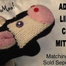 "COW MITTENS knit Halloween COSTUME puppet ADULT Holstein fleece lined MENS WOMENS 10"" long cuff COWS"