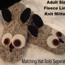 OWL MITTENS knit driving gloves COSTUME puppet ADULT Fleece Lined GRAY grey hoot barn